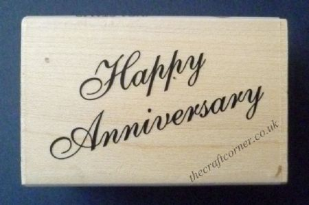 Happy Anniversary Wood Mounted Rubber Stamp